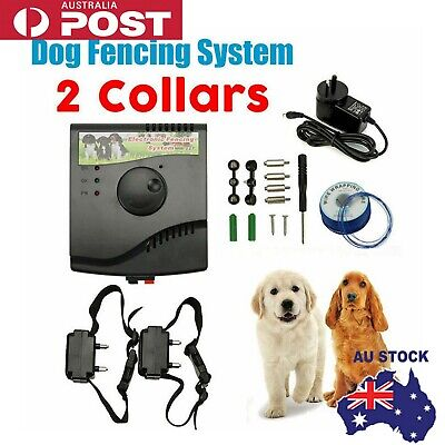 2-Dogs Electronic Hidden Waterproof Dog Fence System Electric Collar Fencing
