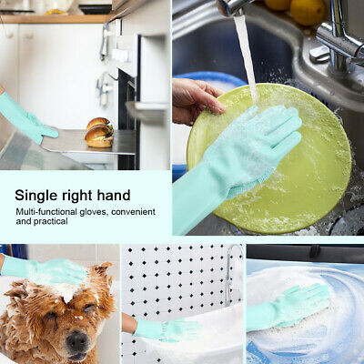 2 in 1 Magic Silicone Gloves Scrubber Cleaning Gloves Brush Dishwashing