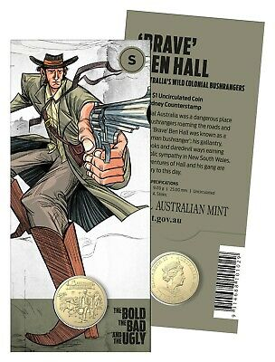 "2019 Australian Bushrangers - Bold Bad & Ugly - $1 ""S"" counterstamp coin ......a"