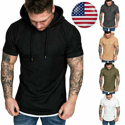 Men Hoodie Short Sleeve T-shirt Fitness Workout Gym Hooded Tee Muscle Shirts Top