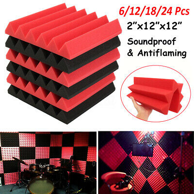 24Pcs Acoustic Panels Tiles Studio Sound Proofing Insulation Closed Cell Foam