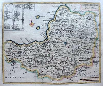 SOMERSETSHIRE   BY ROBERT MORDEN  c1727 GENUINE ANTIQUE COPPER ENGRAVED MAP