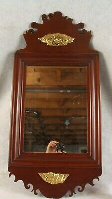 Antique 19C Carved Mahogany Chippendale Gilt Accents Wall Mirror