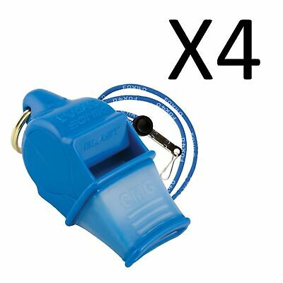 Fox 40 Sonik Blast CMG 2-Chamber Pealess Whistle with Lanyard, Blue (4-Pack)