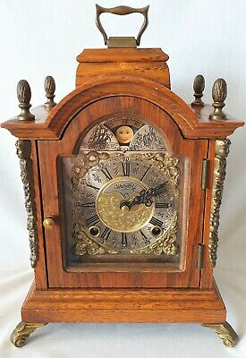 Warmink Mantel Clock Dutch Vintage Oak Shelf Moon Dial Bell Strike Silent Option