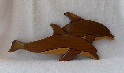 Fabulous Hand Carved Wood Pair of Dolphins Signed by Bob Glover Wall Art   <font