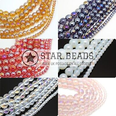 Smooth Round Ab Coated Glass Beads 4,6,8,10Mm - Pick Colour