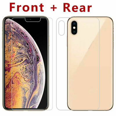 For iPhone XS Max XR X 7 8Plus Front and Back 9H Tempered Glass Screen Protector