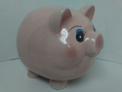 "Piggy Bank Pink Pig Ceramic Figurine Fat Belly Hand Painted Vintage 6""H x 8""L"
