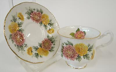 Paragon Fine Bone China Cup Saucer White w Pink Yellow Flowers Green Leaves