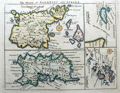 CHANNEL ISLANDS JERSEY GUERNSEY SCILLY  BY JOHN ROCQUE GENUINE ANTIQUE MAP c1769