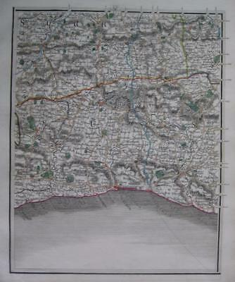 SURREY SUSSEX ARUNDEL BRIGHTON GODALMING BY JOHN CARY GENUINE ANTIQUE MAP  c1824