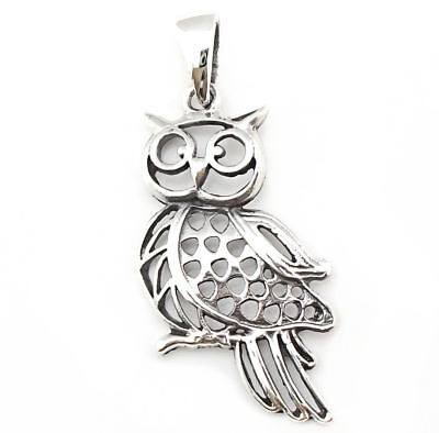 Wise Owl Pendant .925 Solid Sterling Silver Talisman Student Teacher Gift P035
