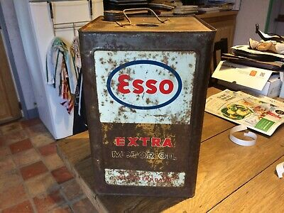 Tres  Grand Bidon Huile Esso 20 L Collection Garage Automobilia