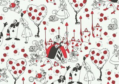 Fat Quarter Disney Alice In Wonderland Painting The Roses Red Cotton Fabric