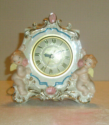 Vintage Electric Clock Ceramic Cherubs  Lanshire Movement USA