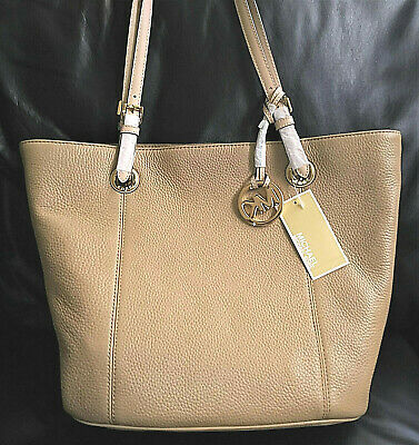 cb5ffbfb6cc5db Michael Kors Jet Set Dk Camel Tan Large Ns Tote Leather With Charm Nwt  Authentic