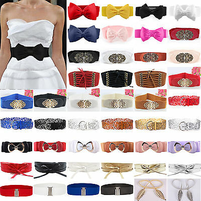 Women Wide Skinny Belt Elastic Stretch Buckle Bow Waist Band Belts Cinch Corset