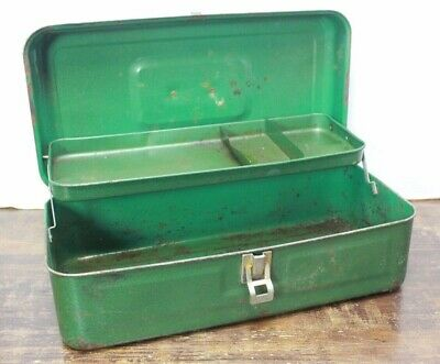 VINTAGE Metalic Green Metal Steel TOOL TACKLE Crafts BOX Case Rusty Funky