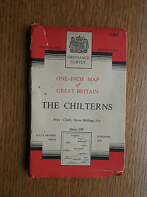 Ordnance Survey Cloth Map of The Chilterns 7th Series Sheet 159 Published 1959