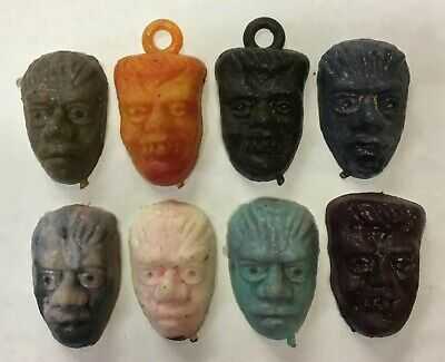 Vintage Monster Head Lot of 8 Vending Gumball Machine Charms 1960's