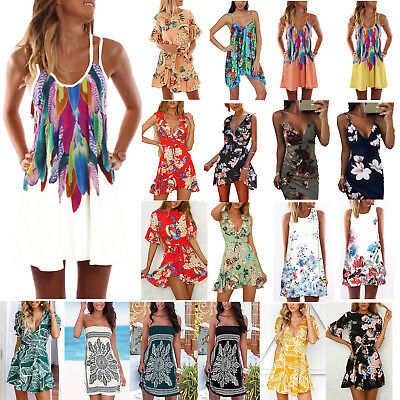 Womens Boho Short Mini Dress Summer Beach Strappy Sundress Tank Bikini Cover Up