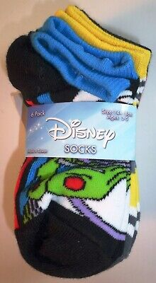 6 Pairs Disney Boys Girls Monsters Toy Story Incredibles Socks Size 6-7.5 L184