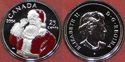 Proof Like 2004P Canada Santa Claus Color 25 Cents From Mint's Set