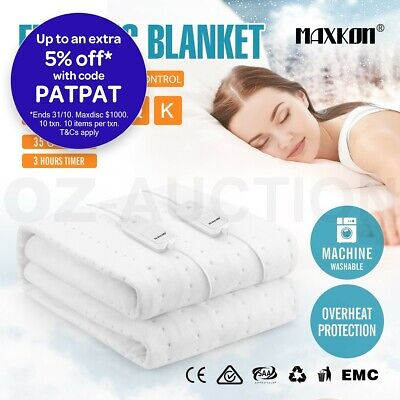 MAXKON Heated Electric Blanket Washable Warm Fully Fitted Polyester Layer 5 Size
