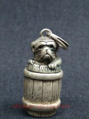 Collection China Tibet Silver Carvings Lovely Dog Statue Boxes Necklace Pendant