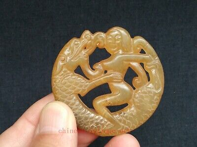Collection Old China Natural Jade Carvings Dragon and Beauty Pendant Decoration