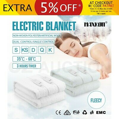MAXKON 5 Size Washable Electric Blanket Heated Warm Fleecy Fully Fitted Underlay