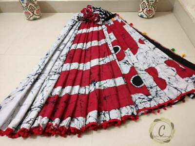 Hand Block Printed Soft Mulmul Saree & Stitched Side Colorful Pom Lace & Blouse