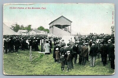 Bourbon Ind 10,000 People At Fair 1910 Antique Postcard