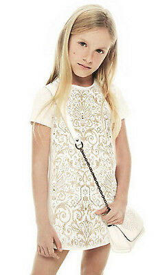 Young Versace Girls Ivory and Gold Viscose Dress BNWT