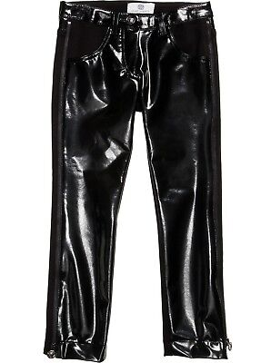 Young Versace Girls Black Shiny Leather Trousers 14 Years *BNWT
