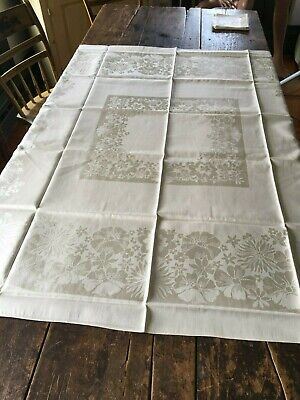 Antique Belgium Damask Linen Tablecloth + 6 Matching Napkins Never Used w Tag