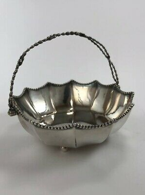 Antique Rogers Smith & Co. Quadruple Silverplate Beaded Basket Meriden CT