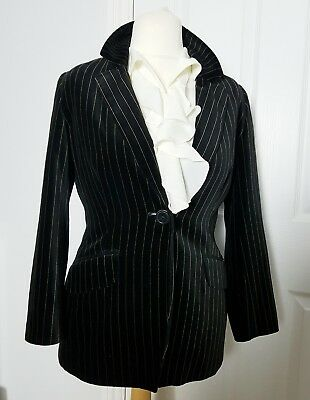 Vintage Black/Gold Stripe Velvet Blazer Jacket UK 10 Petite Casual Grunge