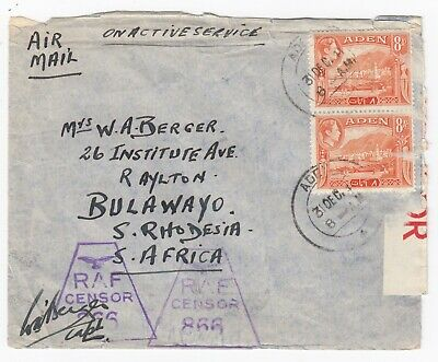 WW2 RAF Censor On Active Service ADEN to Bulawayo Rhodesia 1941 Cover PC22 label