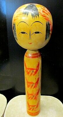 "Vintage Kokeshi Doll Japanese Signed 9.5"" Tall Wooden Crafts Handmade"