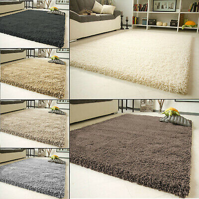 Fluffy Plain Small X Large Thick Modern 5Cm Shaggy Rug Non-Shad Floor Carpet Mat