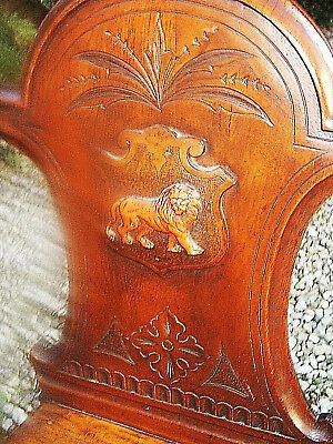 Vintage/Antique Solid Wood Hall Chair with Carved Lion Shield Back