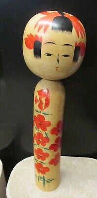"VINTAGE KOKESHI DOLL JAPANESE SIGNED Approx 8"" TALL WOODEN CRAFTS HANDMADE"