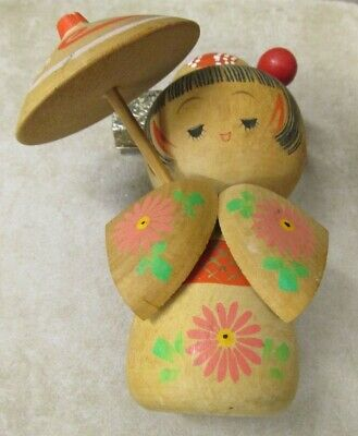 "VINTAGE KOKESHI DOLL JAPANESE STAMPED Approx 5"" TALL WOODEN CRAFTS HANDMADE"