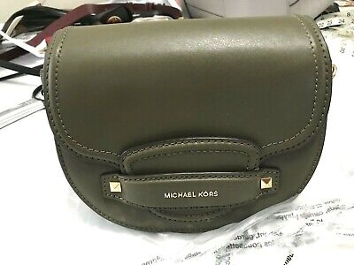 15f0a5bc7ddb Michael Kors Cary Small Leather Saddle Crossbody Bag In Olive Lux Leather  248