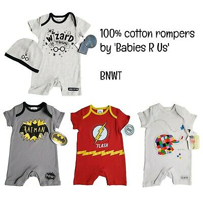Baby Boys Summer Rompers Playsuits BATMAN Harry Potter Gift 100% Cotton BNWT