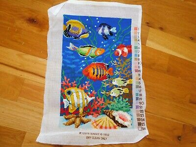 Tropical Fish Needlepoint Panel COMPLETED Handmade