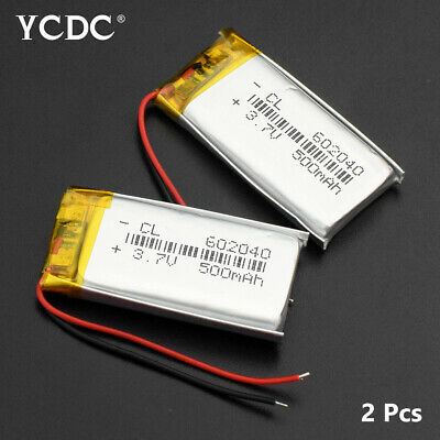 2Pcs 3.7V 500Mah Li-Ion Battery 602040 For Mp3 Recorder Bluetooth Speaker Gps D