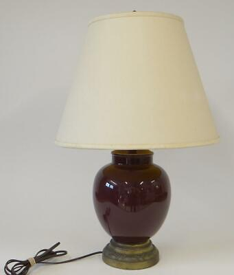 """Vintage Ceramic and Brass Table Lamp w Finial Shade 24"""" Purple Burgundy"""